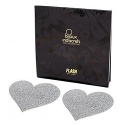 Flash Heart Glitter Self-Adhesive Nipple Covers - Bijoux Indiscrets