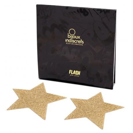 Flash Star Glitter Self-Adhesive Nipple Covers - Bijoux Indiscrets